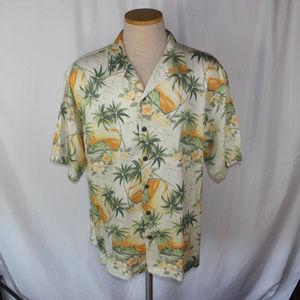 Tommy Bahama 100% Silk Palm Tree Button Shirt